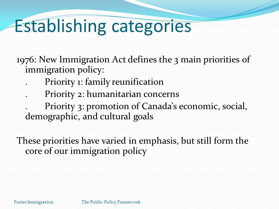 Foster ImmigrationThe Public Policy Framework Establishing categories 1976: New Immigration Act defines the 3 main priorities of immigration policy:.