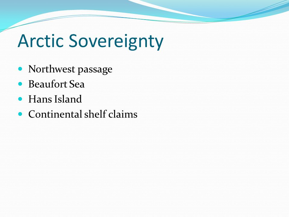 Northwest Passage Legal claims Internal waters by historic title No one exercised possession once claims made Belated claim 1973 Reaction of foreign governments Inability to control navigation (other uses) Internal waters included within straight baselines Stronger claims but … right of 'innocent passage'