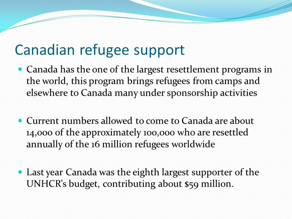 Canadian refugee support Canada has the one of the largest resettlement programs in the world, this program brings refugees from camps and elsewhere t