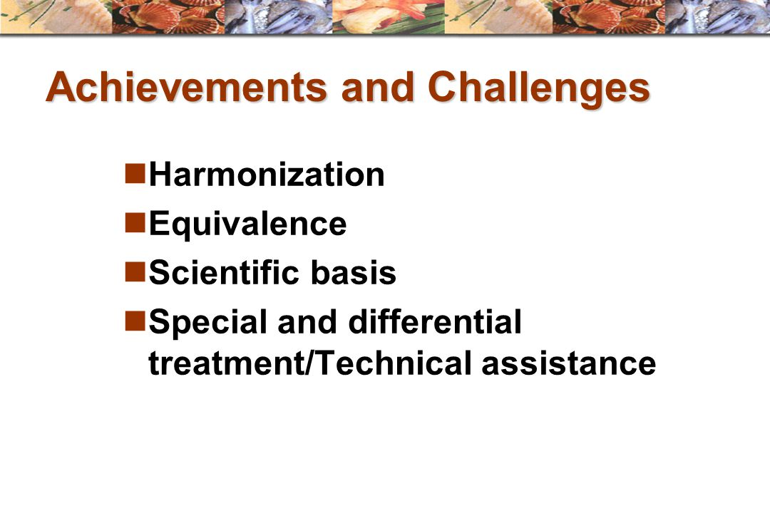 Achievements and Challenges Harmonization Equivalence Scientific basis Special and differential treatment/Technical assistance
