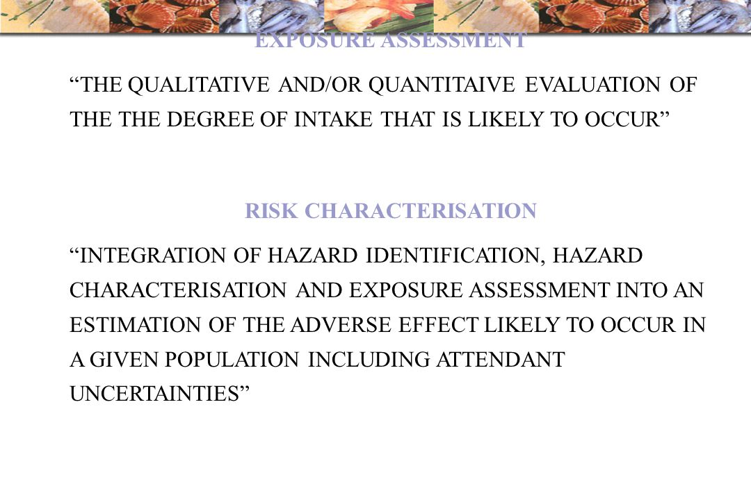 "EXPOSURE ASSESSMENT ""THE QUALITATIVE AND/OR QUANTITAIVE EVALUATION OF THE THE DEGREE OF INTAKE THAT IS LIKELY TO OCCUR"" RISK CHARACTERISATION ""INTEGRA"