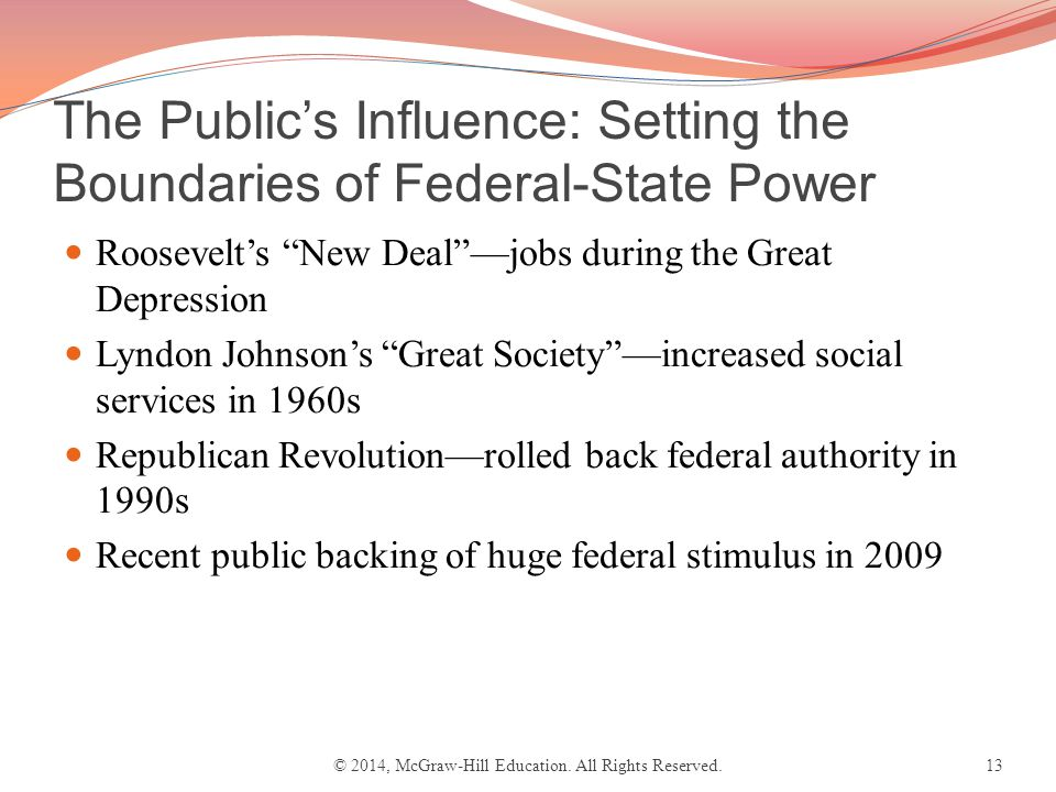 The Public's Influence: Setting the Boundaries of Federal-State Power Roosevelt's New Deal —jobs during the Great Depression Lyndon Johnson's Great Society —increased social services in 1960s Republican Revolution—rolled back federal authority in 1990s Recent public backing of huge federal stimulus in 2009 © 2014, McGraw-Hill Education.