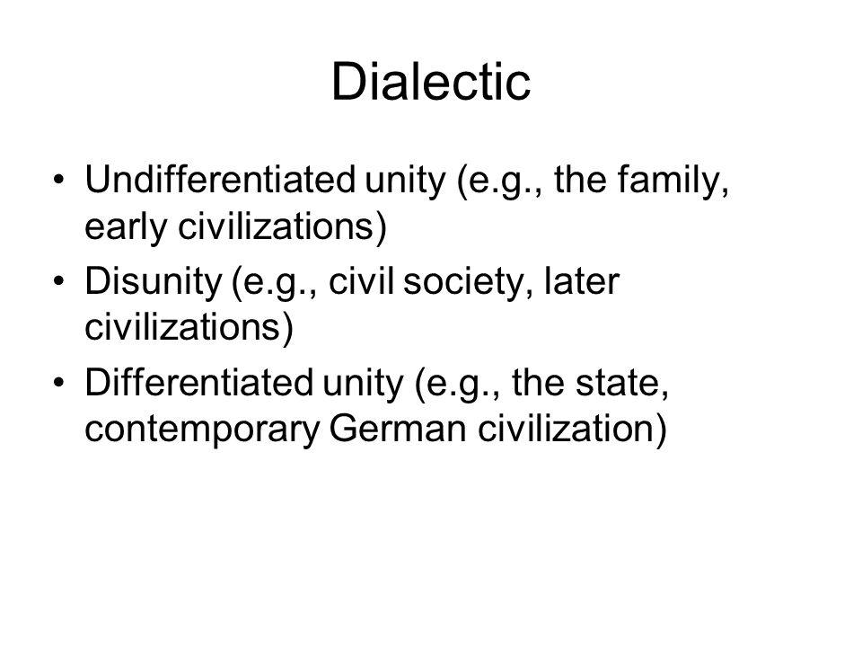 Dialectic Undifferentiated unity (e.g., the family, early civilizations) Disunity (e.g., civil society, later civilizations) Differentiated unity (e.g., the state, contemporary German civilization)