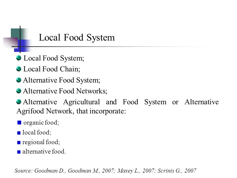 Local Food System Local Food System; Local Food Chain; Alternative Food System; Alternative Food Networks; Alternative Agricultural and Food System or