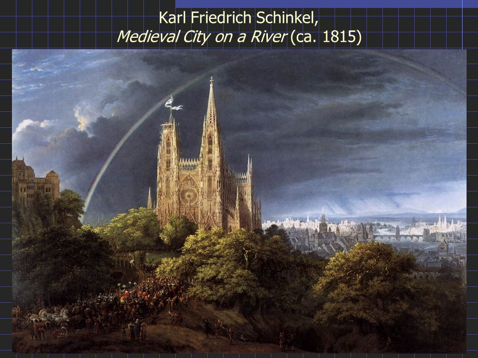 Karl Friedrich Schinkel, Medieval City on a River (ca. 1815)