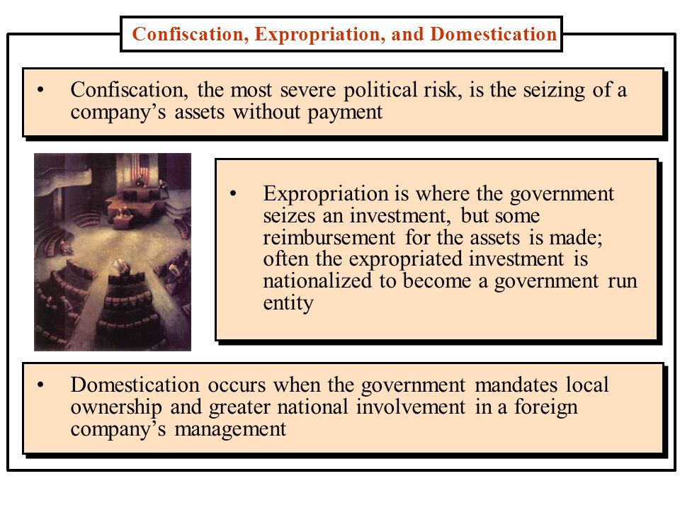 Confiscation, Expropriation, and Domestication Confiscation, the most severe political risk, is the seizing of a company's assets without payment Expropriation is where the government seizes an investment, but some reimbursement for the assets is made; often the expropriated investment is nationalized to become a government run entity Domestication occurs when the government mandates local ownership and greater national involvement in a foreign company's management