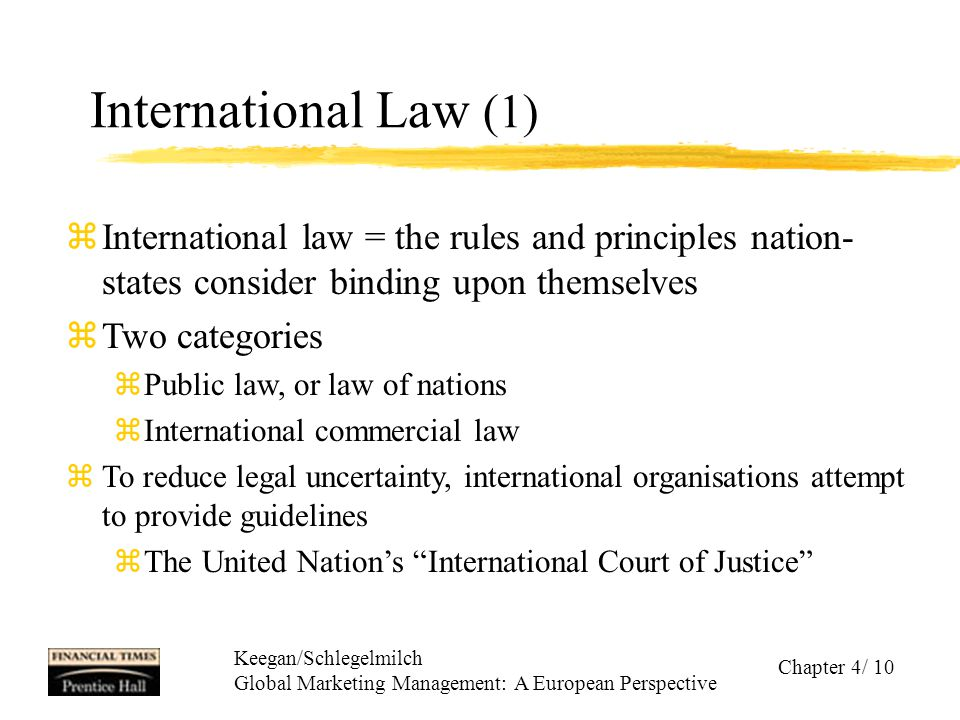 Keegan/Schlegelmilch Global Marketing Management: A European Perspective Chapter 4/ 10 International Law (1) zInternational law = the rules and princi