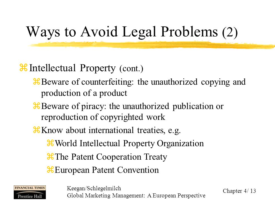 Keegan/Schlegelmilch Global Marketing Management: A European Perspective Chapter 4/ 13 Ways to Avoid Legal Problems (2) zIntellectual Property (cont.)