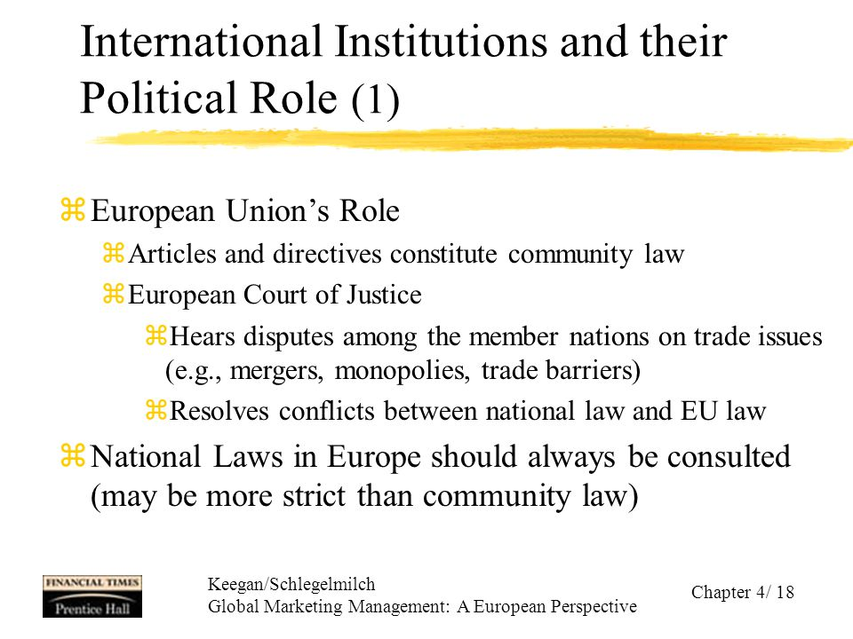Keegan/Schlegelmilch Global Marketing Management: A European Perspective Chapter 4/ 18 International Institutions and their Political Role (1) zEurope