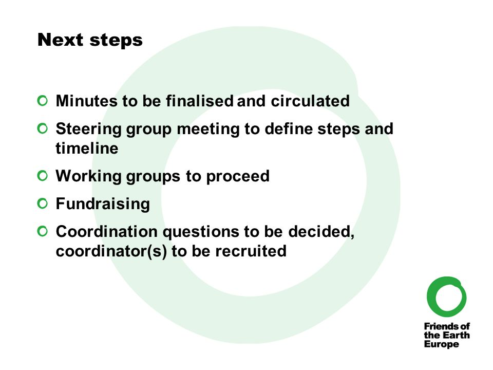 Next steps Minutes to be finalised and circulated Steering group meeting to define steps and timeline Working groups to proceed Fundraising Coordination questions to be decided, coordinator(s) to be recruited