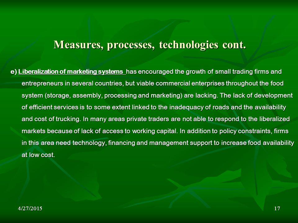 4/27/201517 Measures, processes, technologies cont.