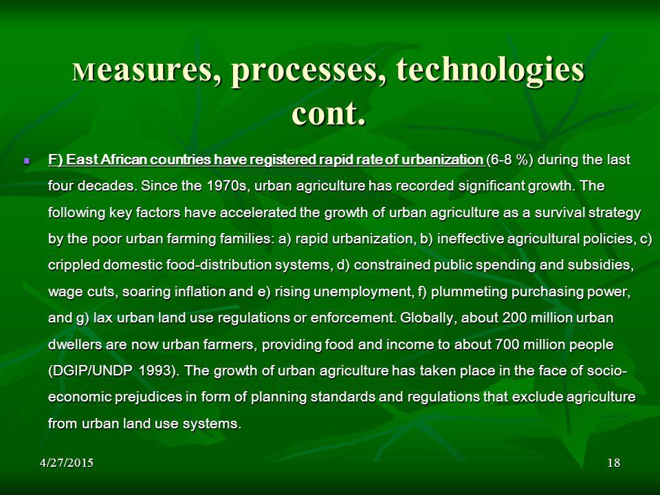 4/27/201518 M easures, processes, technologies cont.