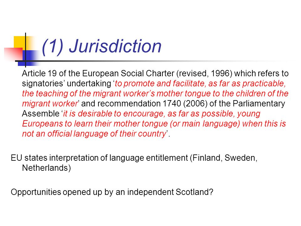 (1) Jurisdiction Article 19 of the European Social Charter (revised, 1996) which refers to signatories' undertaking 'to promote and facilitate, as far as practicable, the teaching of the migrant worker's mother tongue to the children of the migrant worker' and recommendation 1740 (2006) of the Parliamentary Assemble 'it is desirable to encourage, as far as possible, young Europeans to learn their mother tongue (or main language) when this is not an official language of their country'.