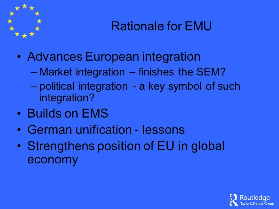 Rationale for EMU Advances European integration –Market integration – finishes the SEM.