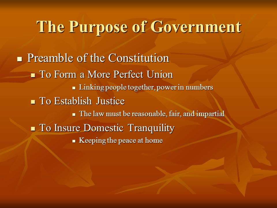 The Purpose of Government Preamble of the Constitution Preamble of the Constitution To Form a More Perfect Union To Form a More Perfect Union Linking people together, power in numbers Linking people together, power in numbers To Establish Justice To Establish Justice The law must be reasonable, fair, and impartial The law must be reasonable, fair, and impartial To Insure Domestic Tranquility To Insure Domestic Tranquility Keeping the peace at home Keeping the peace at home