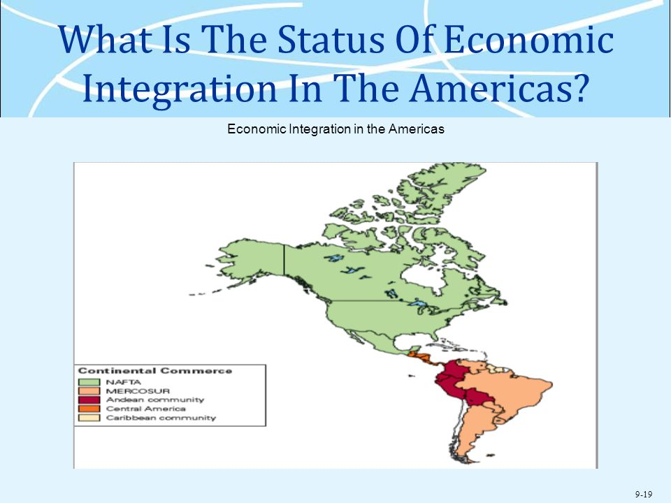 9-19 What Is The Status Of Economic Integration In The Americas? Economic Integration in the Americas
