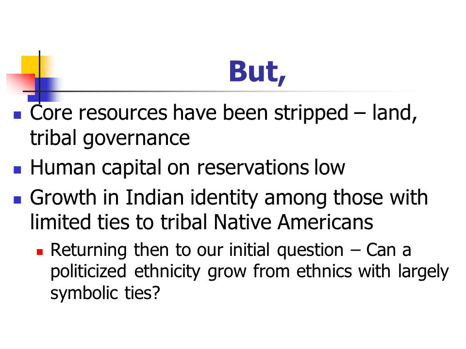 But, Core resources have been stripped – land, tribal governance Human capital on reservations low Growth in Indian identity among those with limited ties to tribal Native Americans Returning then to our initial question – Can a politicized ethnicity grow from ethnics with largely symbolic ties
