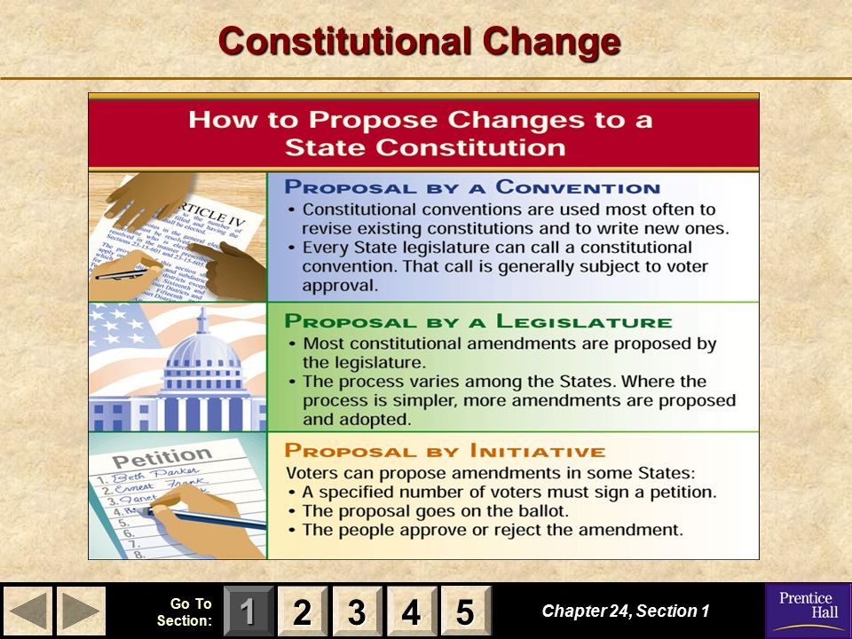 123 Go To Section: 4 5 Constitutional Change Chapter 24, Section 1 2222 3333 4444 5555