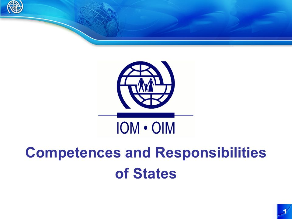 1 Competences and Responsibilities of States