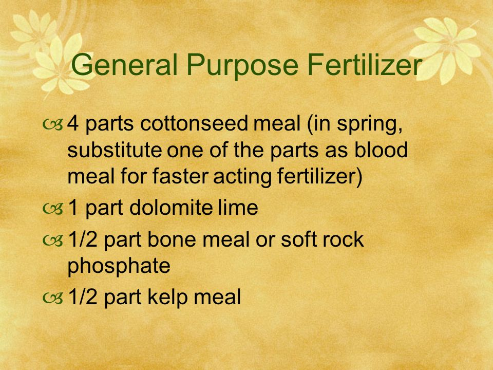 General Purpose Fertilizer  4 parts cottonseed meal (in spring, substitute one of the parts as blood meal for faster acting fertilizer)  1 part dolomite lime  1/2 part bone meal or soft rock phosphate  1/2 part kelp meal