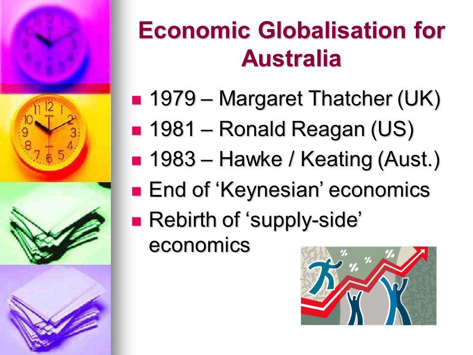 Economic Globalisation for Australia 1979 – Margaret Thatcher (UK) 1979 – Margaret Thatcher (UK) 1981 – Ronald Reagan (US) 1981 – Ronald Reagan (US) 1983 – Hawke / Keating (Aust.) 1983 – Hawke / Keating (Aust.) End of 'Keynesian' economics End of 'Keynesian' economics Rebirth of 'supply-side' economics Rebirth of 'supply-side' economics