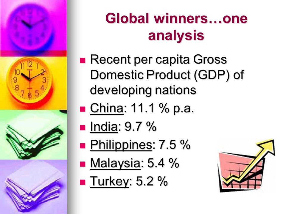 Global winners…one analysis Recent per capita Gross Domestic Product (GDP) of developing nations Recent per capita Gross Domestic Product (GDP) of developing nations China: 11.1 % p.a.