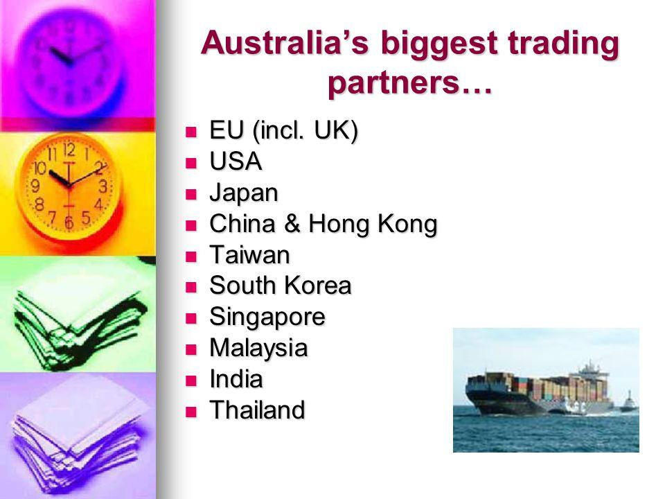 Australia's biggest trading partners… EU (incl. UK) EU (incl. UK) USA USA Japan Japan China & Hong Kong China & Hong Kong Taiwan Taiwan South Korea So
