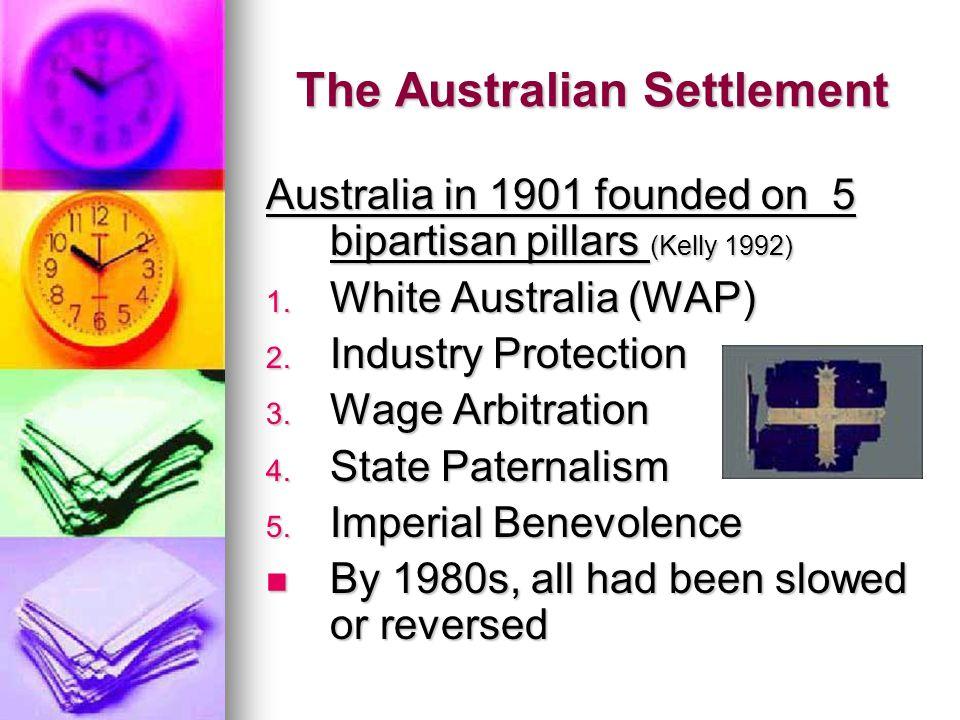 The Australian Settlement Australia in 1901 founded on 5 bipartisan pillars (Kelly 1992) 1. White Australia (WAP) 2. Industry Protection 3. Wage Arbit