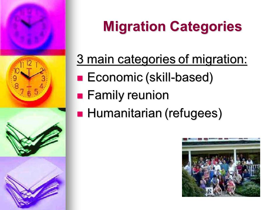 Migration Categories 3 main categories of migration: Economic (skill-based) Economic (skill-based) Family reunion Family reunion Humanitarian (refugees) Humanitarian (refugees)