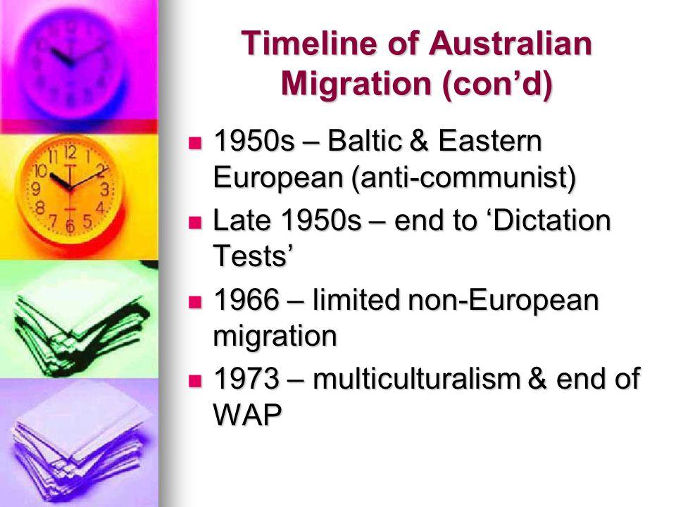 Timeline of Australian Migration (con'd) 1950s – Baltic & Eastern European (anti-communist) 1950s – Baltic & Eastern European (anti-communist) Late 1950s – end to 'Dictation Tests' Late 1950s – end to 'Dictation Tests' 1966 – limited non-European migration 1966 – limited non-European migration 1973 – multiculturalism & end of WAP 1973 – multiculturalism & end of WAP