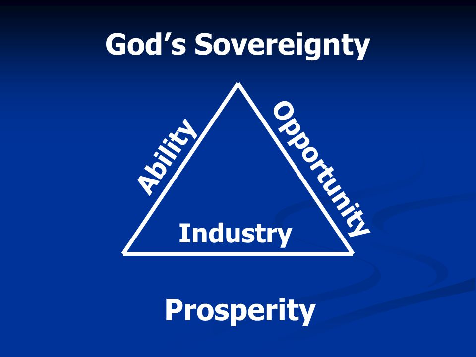God's Sovereignty Ability Opportunity Industry Prosperity