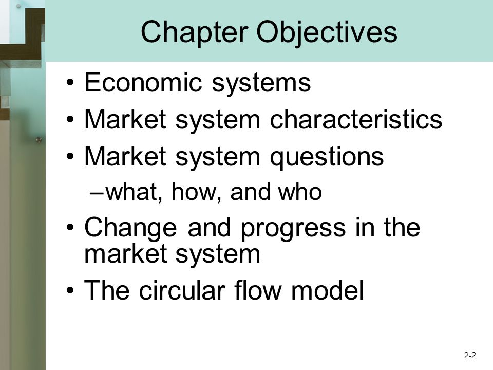 Economic Systems Set of institutional arrangements Coordinating mechanism Differ based on : –Who owns the factors of production –What method directs economic activity 2-3