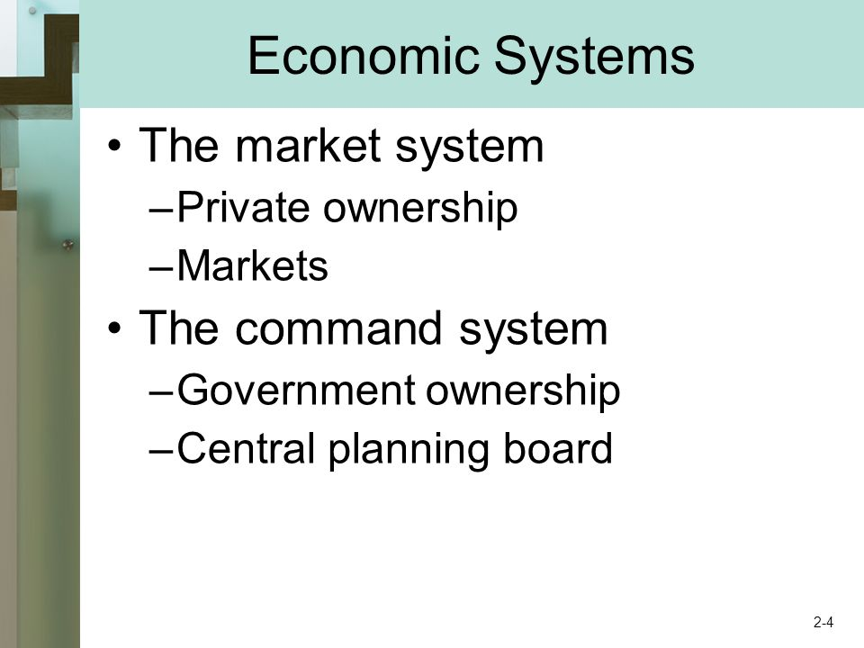 Key Terms economic system command system market system private property freedom of enterprise freedom of choice self-interest competition market specialization division of labor medium of exchange barter money consumer sovereignty dollar votes creative destruction invisible hand circular flow diagram resource market product market 2-15