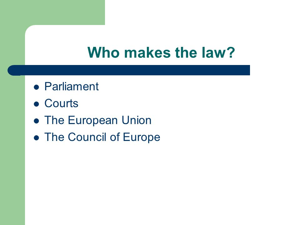 Who makes the law Parliament Courts The European Union The Council of Europe