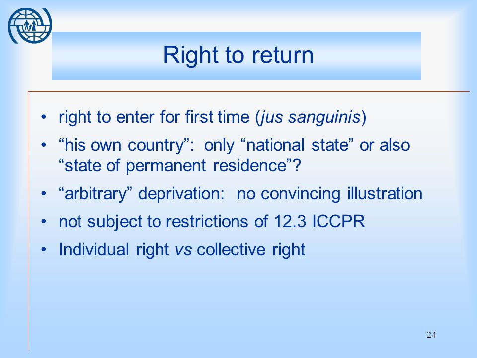 24 Right to return right to enter for first time (jus sanguinis) his own country : only national state or also state of permanent residence .