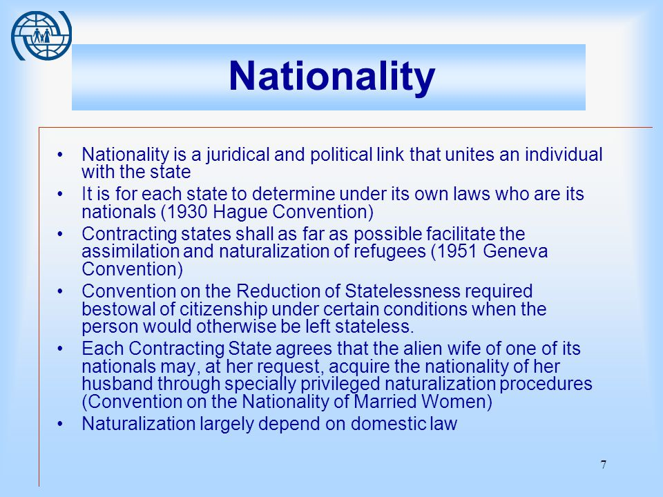 8 Right to admit - A migrant has the right to leave own country - No international obligation on a State admit a non national - Categories of persons able to assert right of return limited to citizens (No one shall be arbitrarily deprived of the right to enter his own country, art 12, sec.