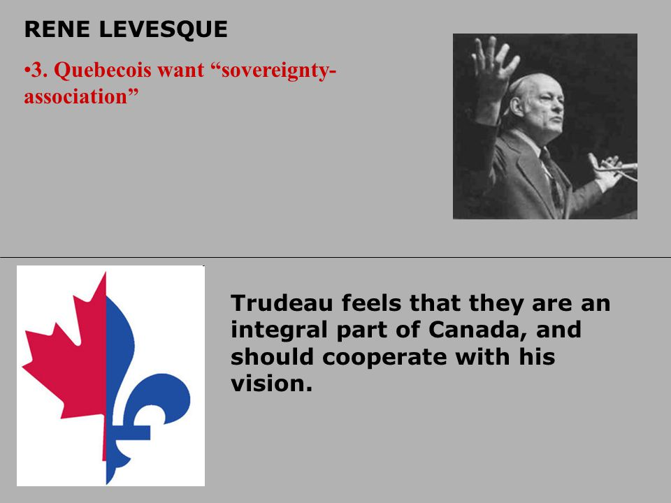 PIERRE ELLIOT TRUDEAU 1. JUST SOCIETY Trudeau used this phrase to explain his policies, which included things like Constitutional Charter of Rights an