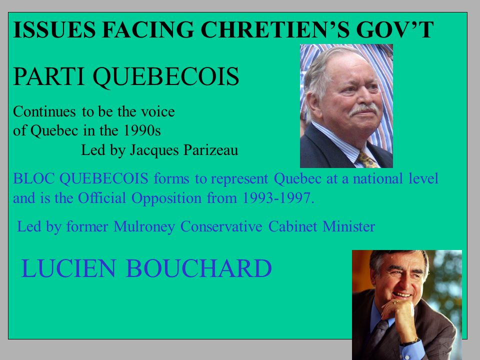 ISSUES FACING CHRETIEN'S GOV'T PARTI QUEBECOIS Continues to be the voice of Quebec in the 1990s Led by Jacques Parizeau