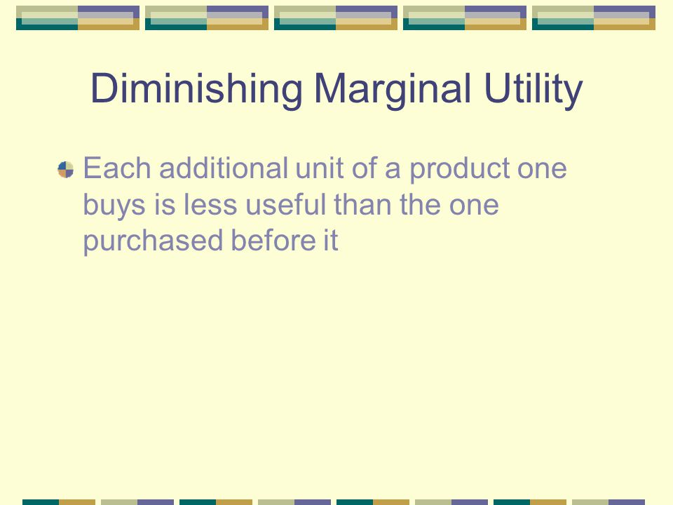 Diminishing Marginal Utility Each additional unit of a product one buys is less useful than the one purchased before it Ex.
