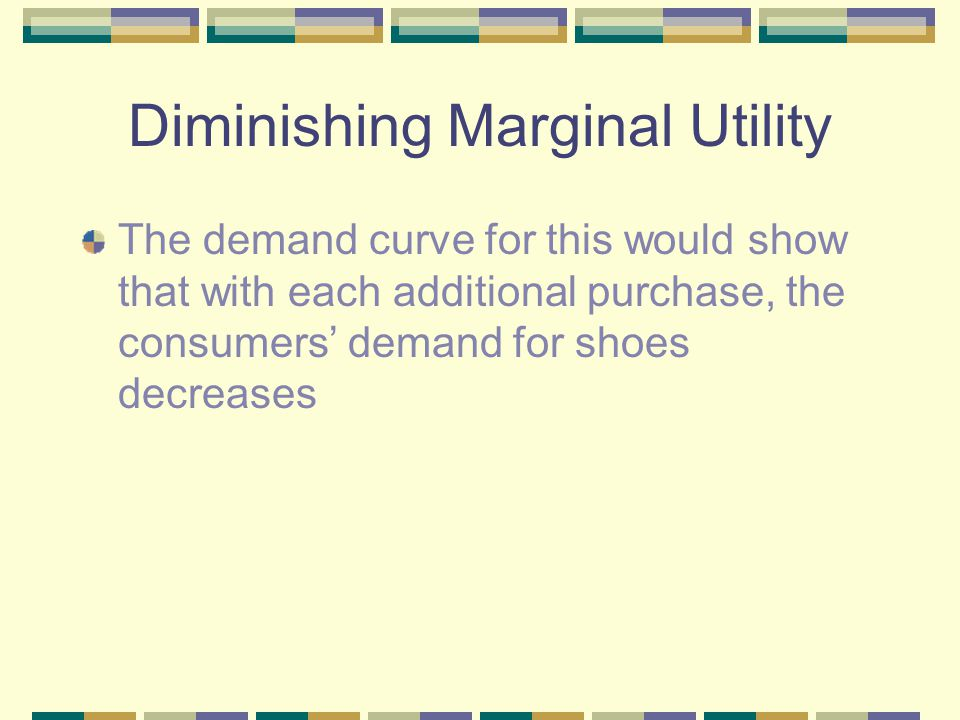Diminishing Marginal Utility The demand curve for this would show that with each additional purchase, the consumers' demand for shoes decreases