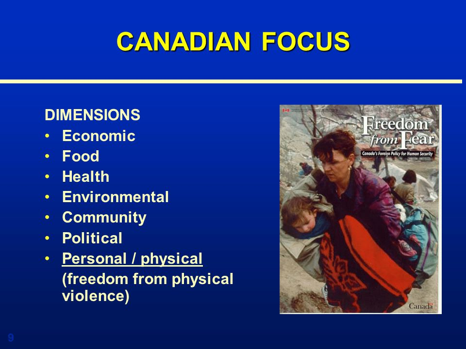 10 THE HUMAN SECUIRTY AGENDA Internet Site – www.humansecurity.gc.ca