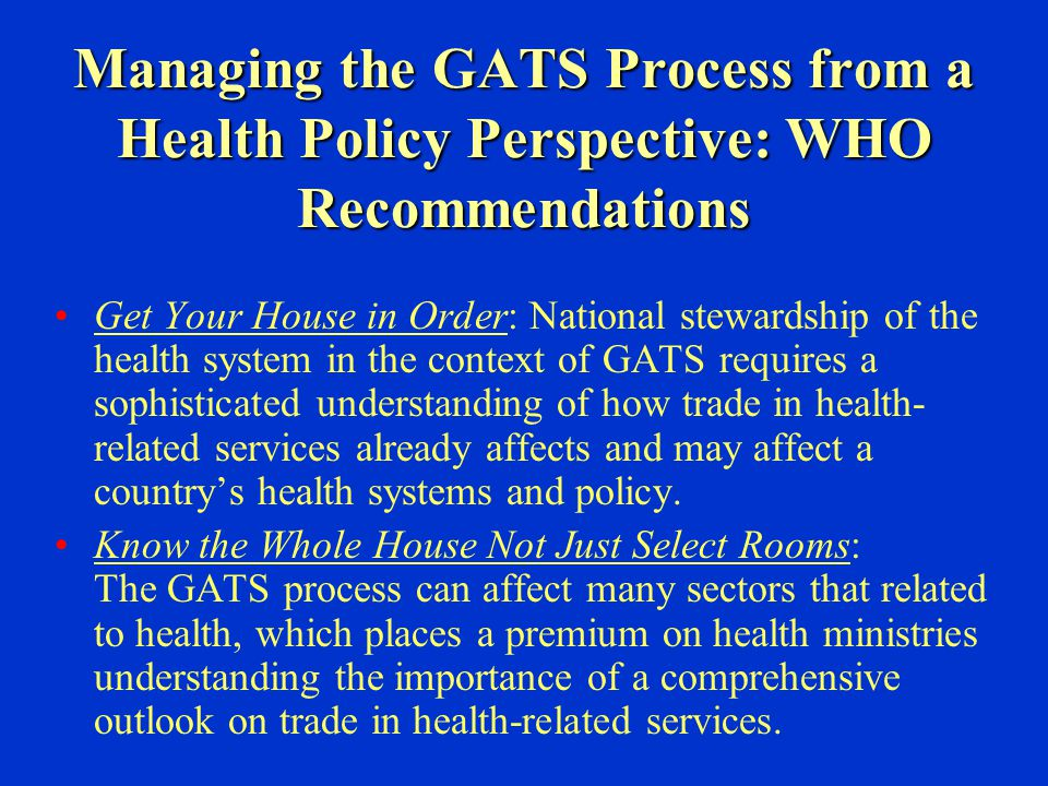 Managing the GATS Process from a Health Policy Perspective: WHO Recommendations Get Your House in Order: National stewardship of the health system in