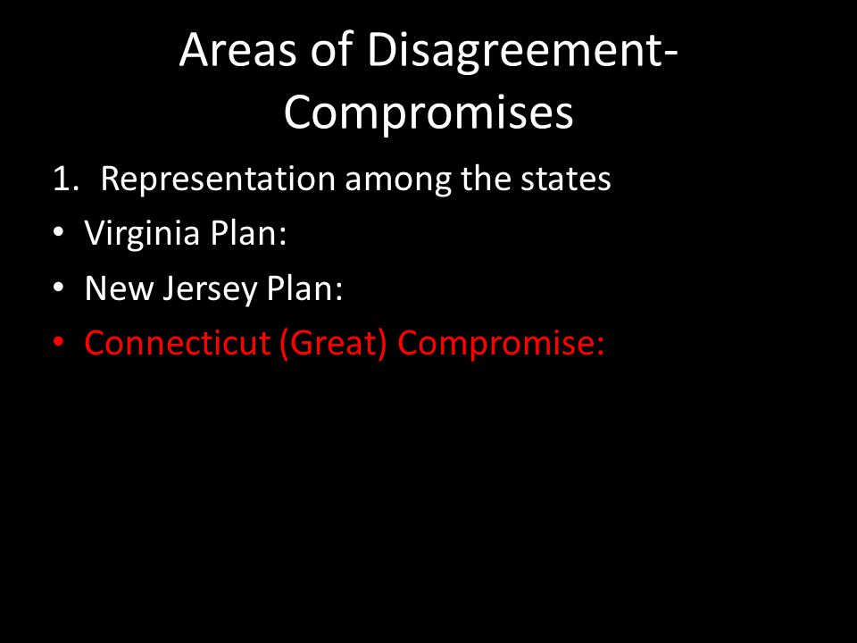 Areas of Disagreement- Compromises 1.Representation among the states Virginia Plan: New Jersey Plan: Connecticut (Great) Compromise: