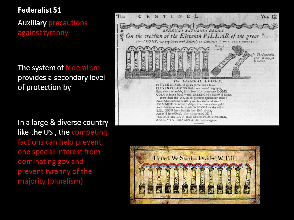 Federalist 51 Auxiliary precautions against tyranny- The system of federalism provides a secondary level of protection by In a large & diverse country like the US, the competing factions can help prevent one special interest from dominating gov and prevent tyranny of the majority (pluralism)