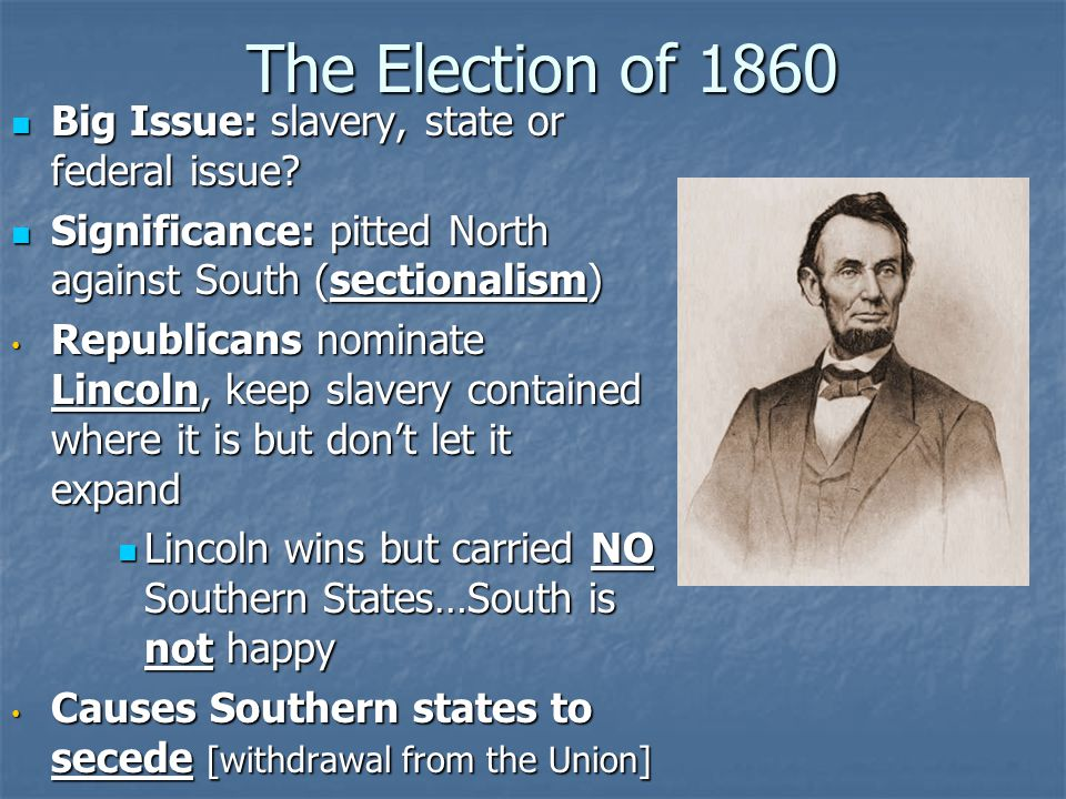 The Election of 1860 Big Issue: slavery, state or federal issue? Big Issue: slavery, state or federal issue? Significance: pitted North against South