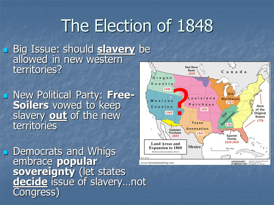 The Election of 1848 Big Issue: should slavery be allowed in new western territories? Big Issue: should slavery be allowed in new western territories?