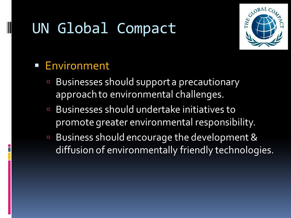 UN Global Compact  Environment  Businesses should support a precautionary approach to environmental challenges.  Businesses should undertake initia