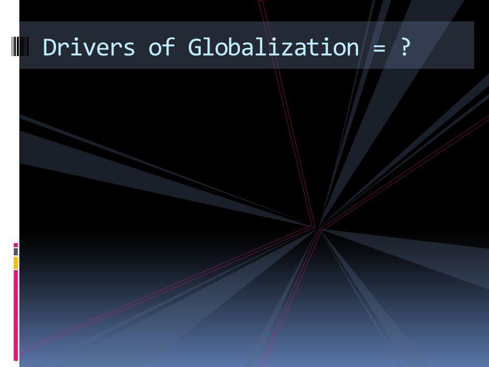 Drivers of Globalization = ?