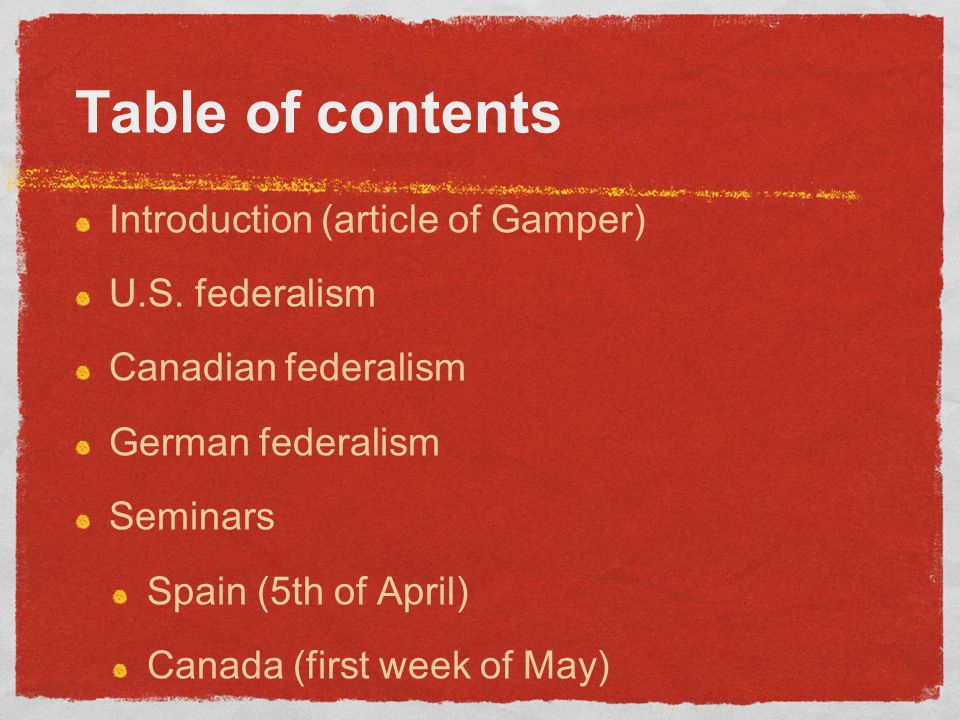 Table of contents Introduction (article of Gamper) U.S.