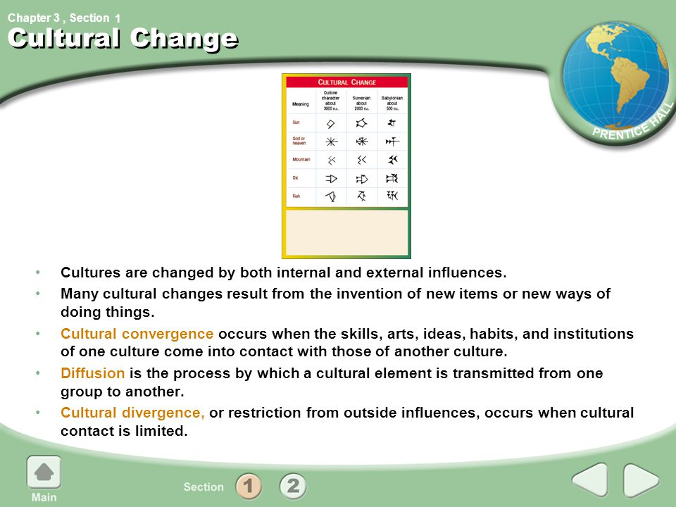 Chapter 3, Section1 Cultural Change Cultures are changed by both internal and external influences. Many cultural changes result from the invention of